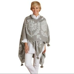 Soft Surroundings Grey Floral Poncho